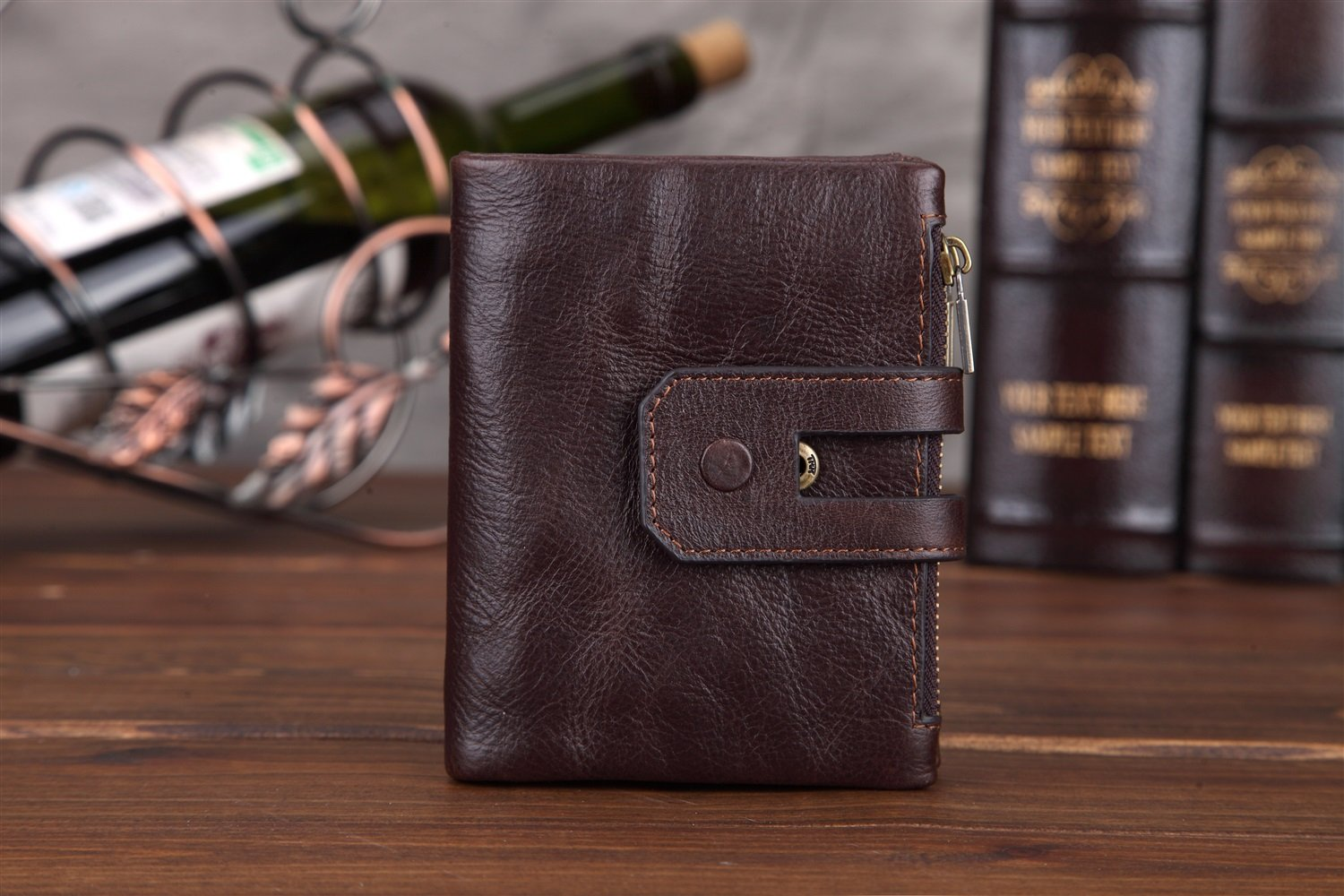 Color : Black, Size : S TongLing Leather Wallet Double Zipper Three Fold Mens Short Soft Surface Wallet Oil Wax Skin Casual Wear Trend