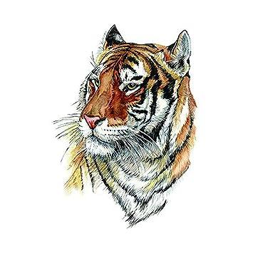 948d8fe63 Amazon.com : WYUEN 5 Sheets Watercolor Tiger Temporary Tattoo Sticker Fake  Waterproof Tattoo For Women Men Body Art 9.8X6cm (FA-269) : Beauty