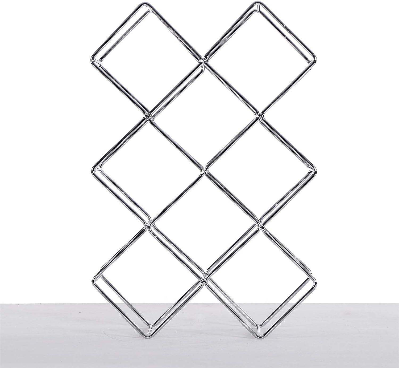 DESIGN DELIGHTS WINE BOTTLE RACK CUBE | metal, 37,5x25x10cm (HxWxD) | bottle holder | Colour: black Silver