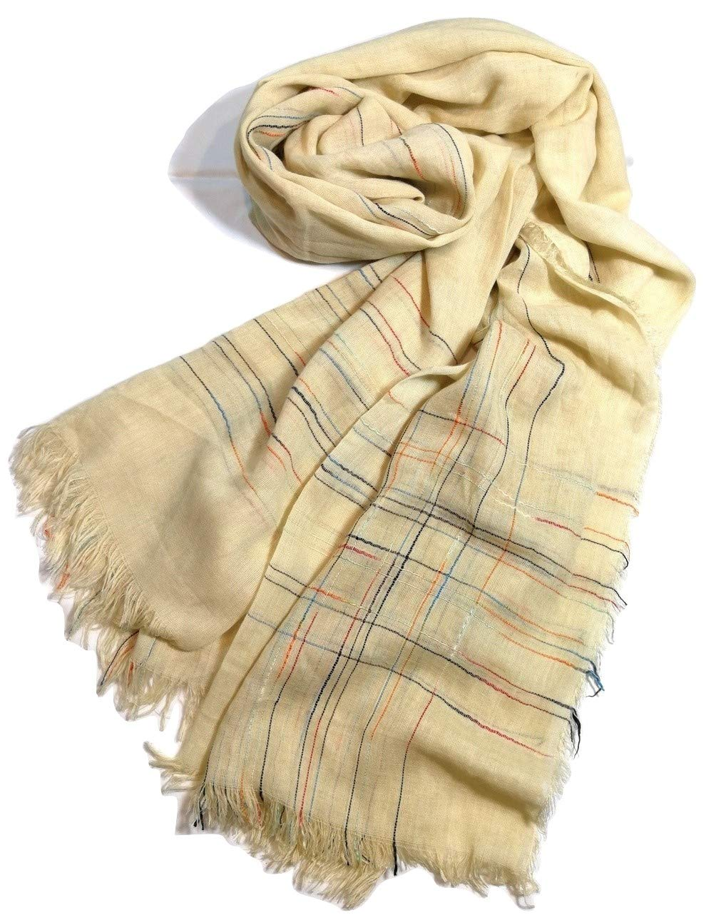 Shanlin Fine Cotton-Linen Scarves for Men (Yellow-CThreads)