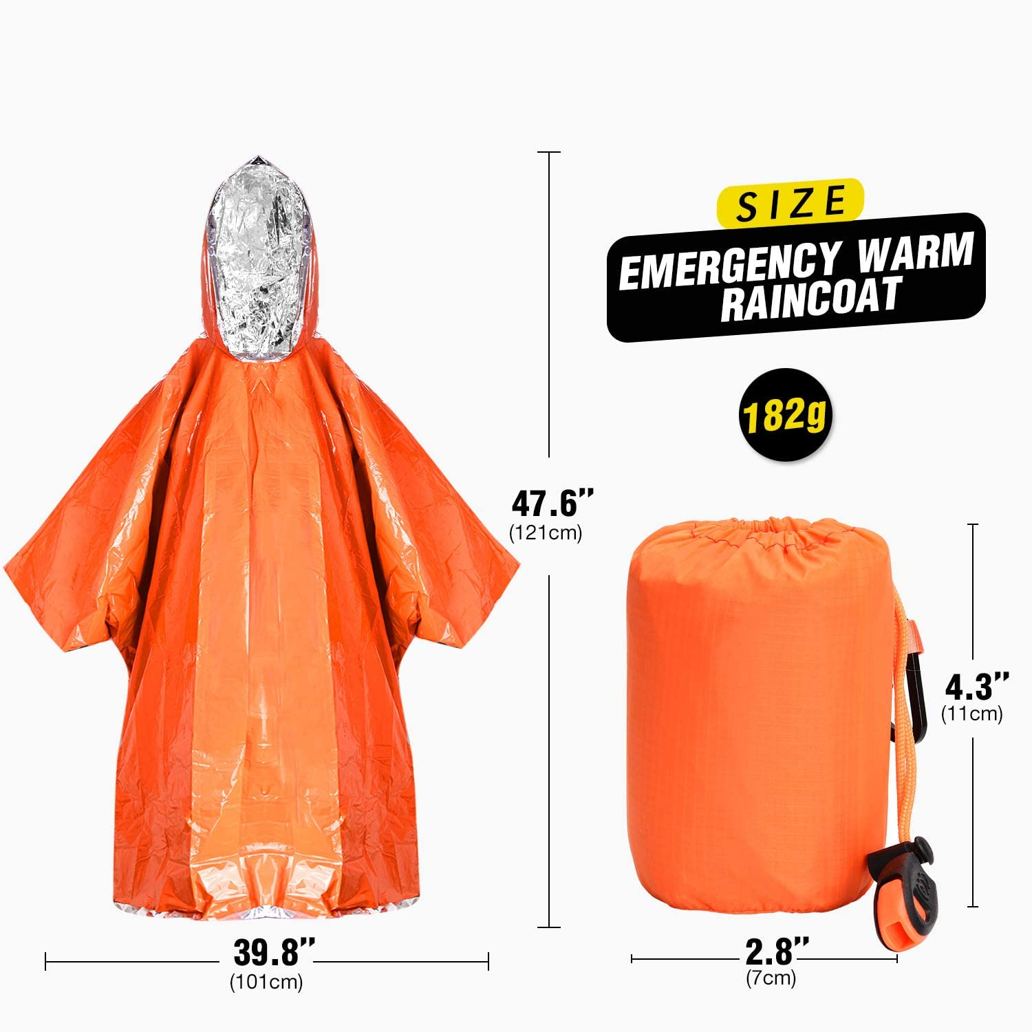 Waterproof Heat Reflective Survival Silver Foil Blanket Great for Camping Hiking Traveling Reversible Mylar Rescue Thermal Raincoat with One Whistle TOBWOLF 2PCS Emergency Poncho