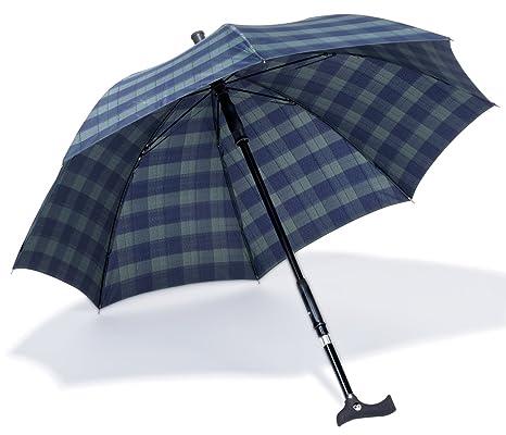 Ossenberg 3030 paraguas con bastón mango ondulado en diseño de cuadros, altura ajustable, 87