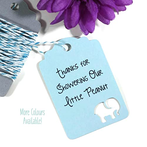 Light Blue Elephant Baby Shower Tags   Baby Blue Sprinkle   Thank You Tags  (Set