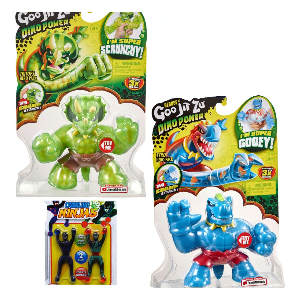Heroes of Goo JIT Zu Dino Power Chomp Attack - Tyro and Tritops 2-Pack Gift Set by Simple Joy Toys