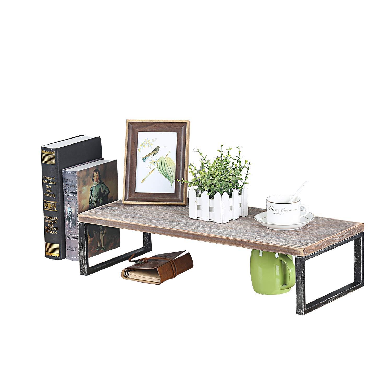 MBQQ Industrial Modern Metal&Wooden Desk Organizer Plants Racks,L24 x D9.8 Rustic Office Storage Shelf,Desktop Display Shelves,Flower Stand,Kitchen Spice Rack by MBQQ