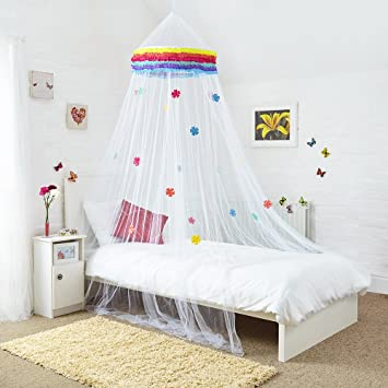 Princess Bed Canopy - Beautiful Rainbow Childrens Bed Canopy With Coloured Flowers - Quick and Easy  sc 1 st  Amazon UK & Princess Bed Canopy - Beautiful Rainbow Childrens Bed Canopy With ...