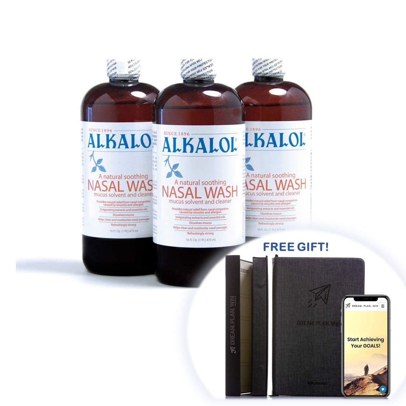 Alkalol Solution Original Nasal Wash, 8 Count -16 fl oz + Free Gift - Productivity Planner - Attain Your Dreams!