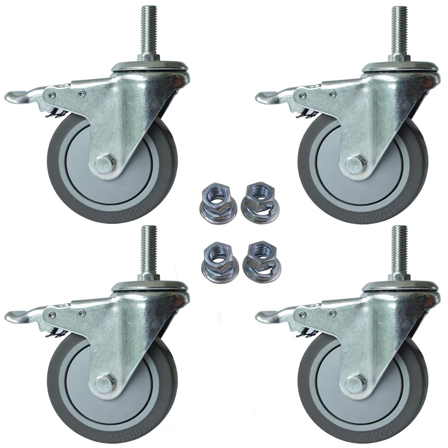 OuYi 4 Inch Brake Stem Casters 1/2''-13x1-1/2'', Swivel Stem Caster, Grey Polyurethane WheeI Industrial Castors Replacement for Carts Set of 4 OeCasterTPR100_1225EN by OuYi