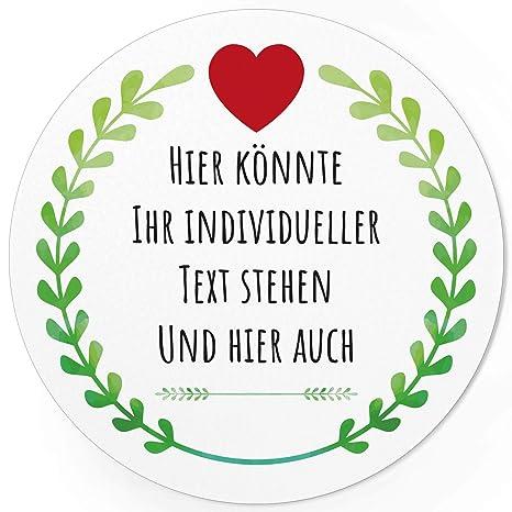 24 Individuelle Runde Etiketten Selber Gestalten Grüner Kranz Mit Herz Personalisierte Aufkleber Für Hochzeit Geburt Taufe Muttertag