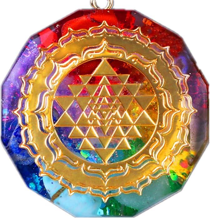 ZYAO Sri Yantra Colgante Collar Orgonita 7 Chakra Cristal Colgante Energ/ía de Alta frecuencia Colgante para Crecimiento Riqueza Talism/án