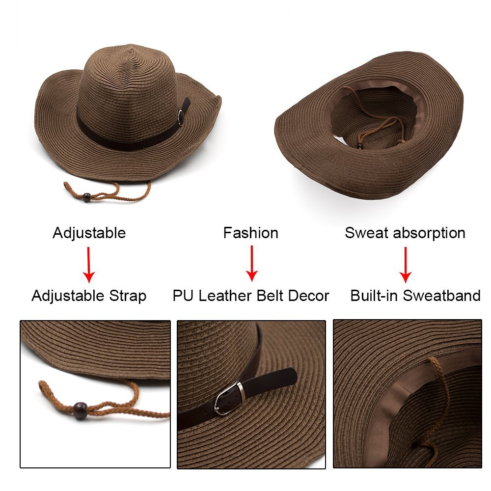 67d02ba0027c4 Opromo Unisex Straw Cowboy Hats Cool Western Style Summer Beach Sun Caps-Beige  at Amazon Men s Clothing store