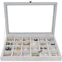 Multifunktionsspår sammet glas smyckeskrin organiseringsfodral brickhållare örhängen förvaringslåda (24 spår)