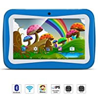 Tablet Para Niños, QIMAOO, Tablet Infantil de 7 Pulgadas iWawa Software Pre-instalado, Android 5.1, Lollipop Quad Core Tablet Externa 3G,8GB ROM, 1GB RAM, Wifi ,Bluetooth, Doble Cámara, Google Play(con Funda De Silicona Azul)