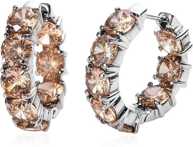 Boho Silver Cubic Zirconia Wedding Engagement Hoop Earrings Party Women Jewelry