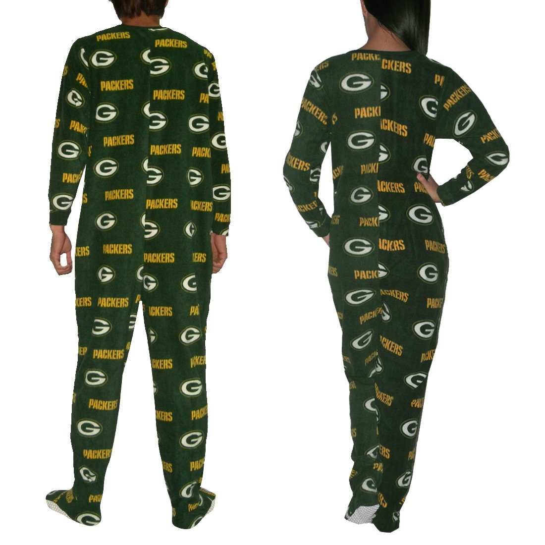 f95858b47bff NFL Green Bay Packers Adult Polar Fleece One-Piece Footed Pajamas ...