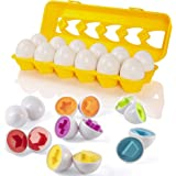 Easter Matching Eggs with Yellow Eggs Holder - STEM Toys Educational Toy for Kids and Toddlers to Learn Color & Number Recognition Easter Gift Easter Eggs
