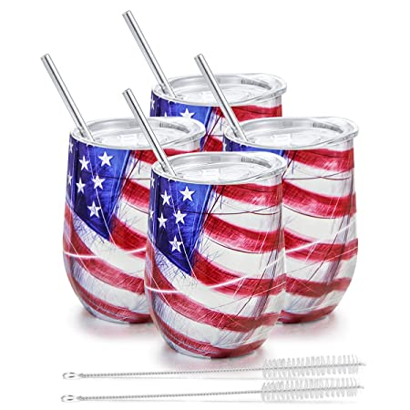 Insulated Wine Tumbler with Lid, Deedro 12 oz Double Wall Vacuum Insulated Wine Cup with Straws and Brushes, Stemless Stainless Steel Wine Glass for Champagne, Coffee, Drinks, 4 Pieces Flag