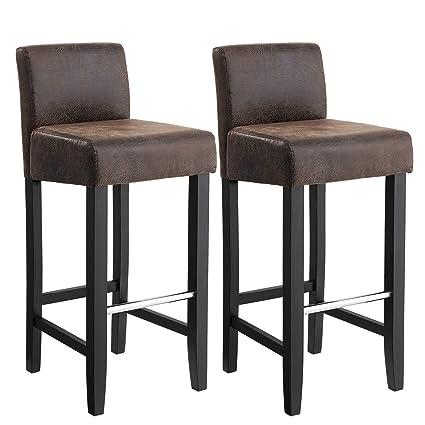 SONGMICS Conjunto de 2 taburetes de bar, Sillas altas con respaldo bajo, Silla acolchada tapizada en PU, Altura del asiento de 71 cm, Patas de madera ...