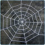 Unho 5 Feet Spider Cobweb Decoration White Spiders Web Giant 1.5M Spooky Halloween Spiderweb with a Spider Decoration