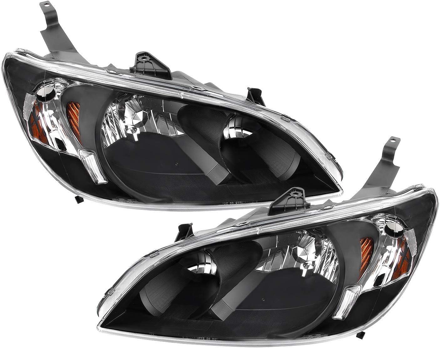 Right 04 05 Fits 2004 2005 Honda Civic Headlights Front Headlamps ...