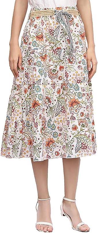 Lino Boho Largo Midi Falda para Mujeres Faldas Estampada Floral ...