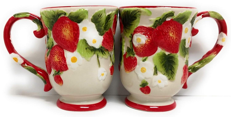 New Temp-tations S/2 Coffee Mugs, TWO Cafe Mug Set, 12 oz Pedestal Cup, Figural Fruit (Strawberry)