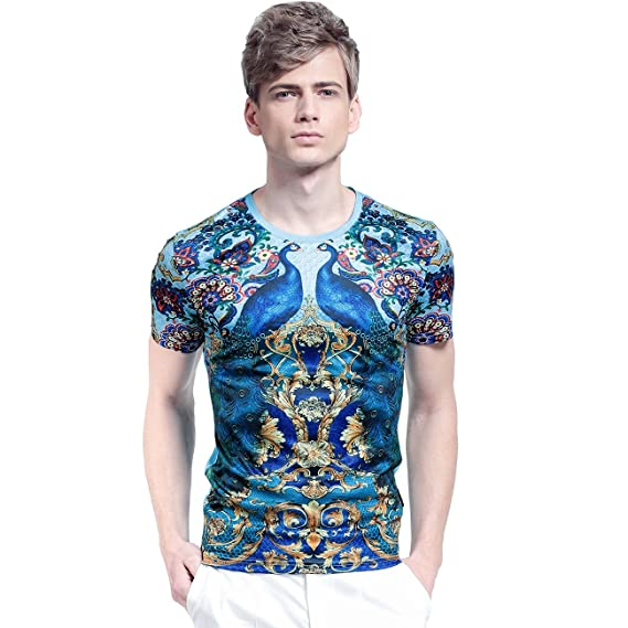 db84e640a8f FANZHUAN Mens T Shirts Casual Tee Shirts for Men Mens Retro T Shirts T  Shirt Men Slim XS  Amazon.co.uk  Clothing