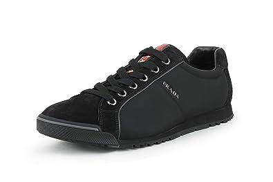 9088dd8537 Amazon.com   Prada Men's Suede with Nylon Trainer Sneaker, Nero ...