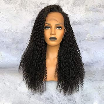 Amazon.com   ALYSSA Hair Kinky Curly Full Lace Wig Natural Hairline  Unprocessed Virgin Brazilian Human Hair Wigs For Black Women 10in Natural  Color   Beauty 1eb1252036