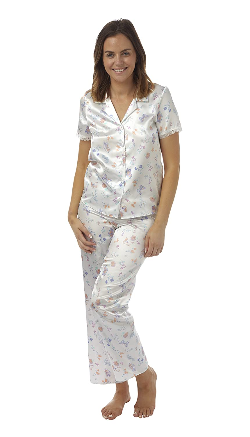 BHS Short Sleeve Button Through Lightweight Satin Pyjamas at Amazon ...