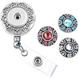 MJARTORIA Retractable Rhinestone Snap Buttons Business ID Badge Reel Holder with Clip Backin