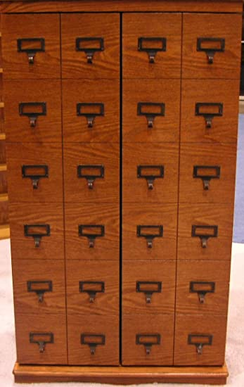 Charming Leslie Dame CD 612LD Solid Oak Mission Style Multimedia Storage Cabinet  With Library Card Catalog