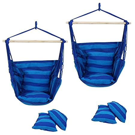 SUPER DEAL Hammock Hanging Chair Air Deluxe Sky Swing Hanging Rope Chair Porch Swing Seat Patio Camping Swing 2PCS