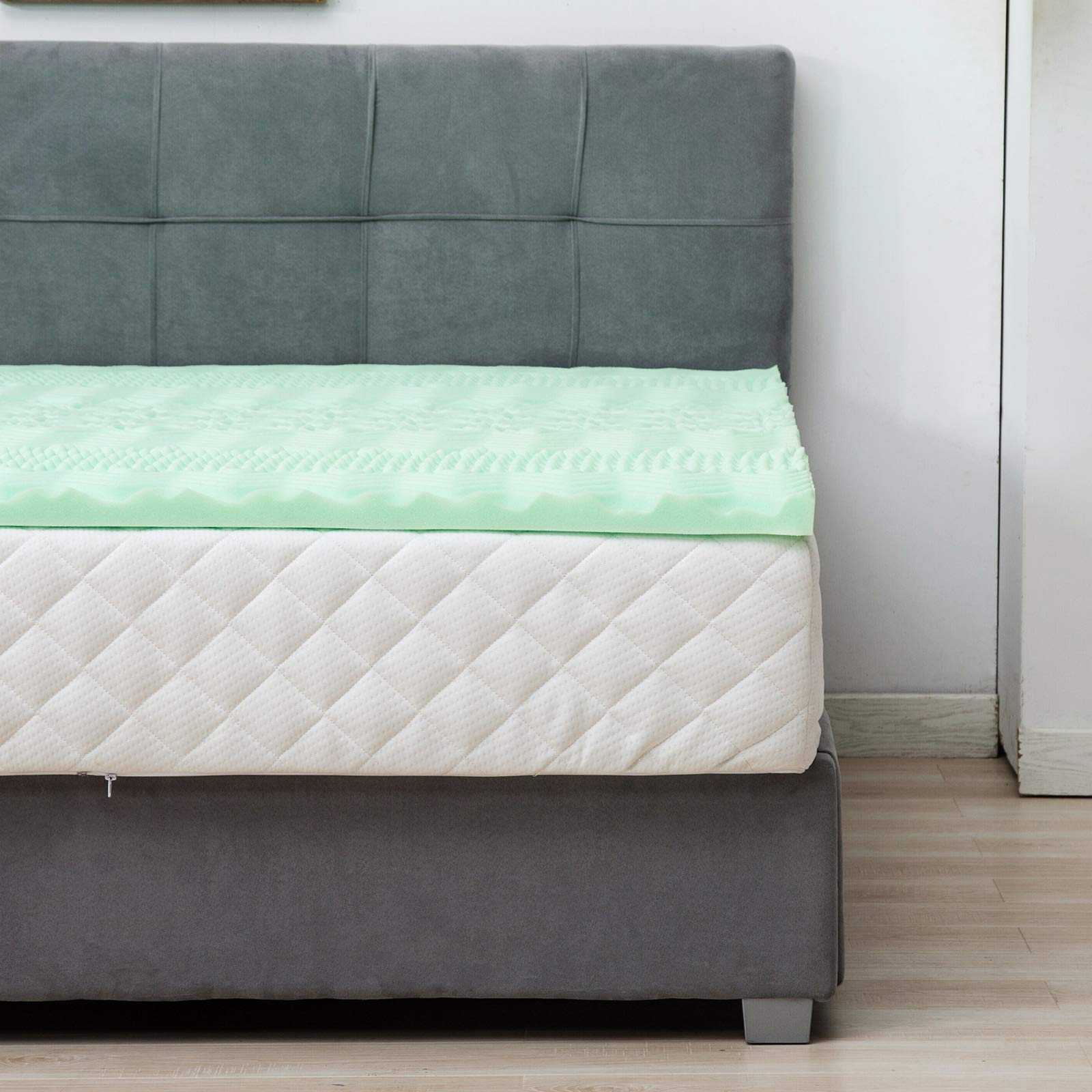 LAGRIMA 2-inch 2'' Mattress Topper, 7-Zone Full Size Memory Foam Mattress Topper, CertiPUR-US Certified, Support for Side, Back, Stomach Sleepers, Green Tea with Pattern