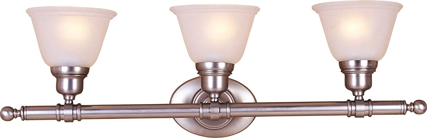 Maxim 7143FTSN Essentials 3-Light Bath Vanity, Satin Nickel Finish, Frosted Glass, MB Incandescent Incandescent Bulb , 60W Max., Dry Safety Rating, Standard Dimmable, Metal Shade Material, Rated Lumens