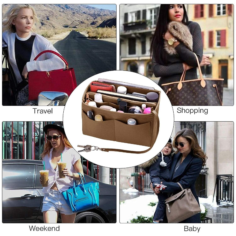 5 Sizes Purse Organizer Insert For Speedy Neverfull Tote Felt Bag organizer with zipper Handbag /& Tote Shaper