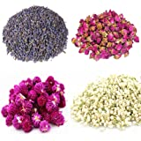 TooGet Flower Petals and Buds Includes Lavender, Rose, Gomphrena Globosa, Jasmine, Green Tea Bulk Flower to Make Botanical Oil, Kinds of Crafts