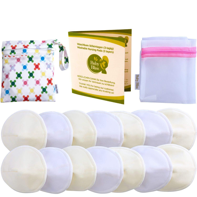 Baby Bliss Waschbare Bambus Stilleinlagen Konturiert (14er-Pack) (Weiss/Beige, 10cm) MaYa Trading GmbH