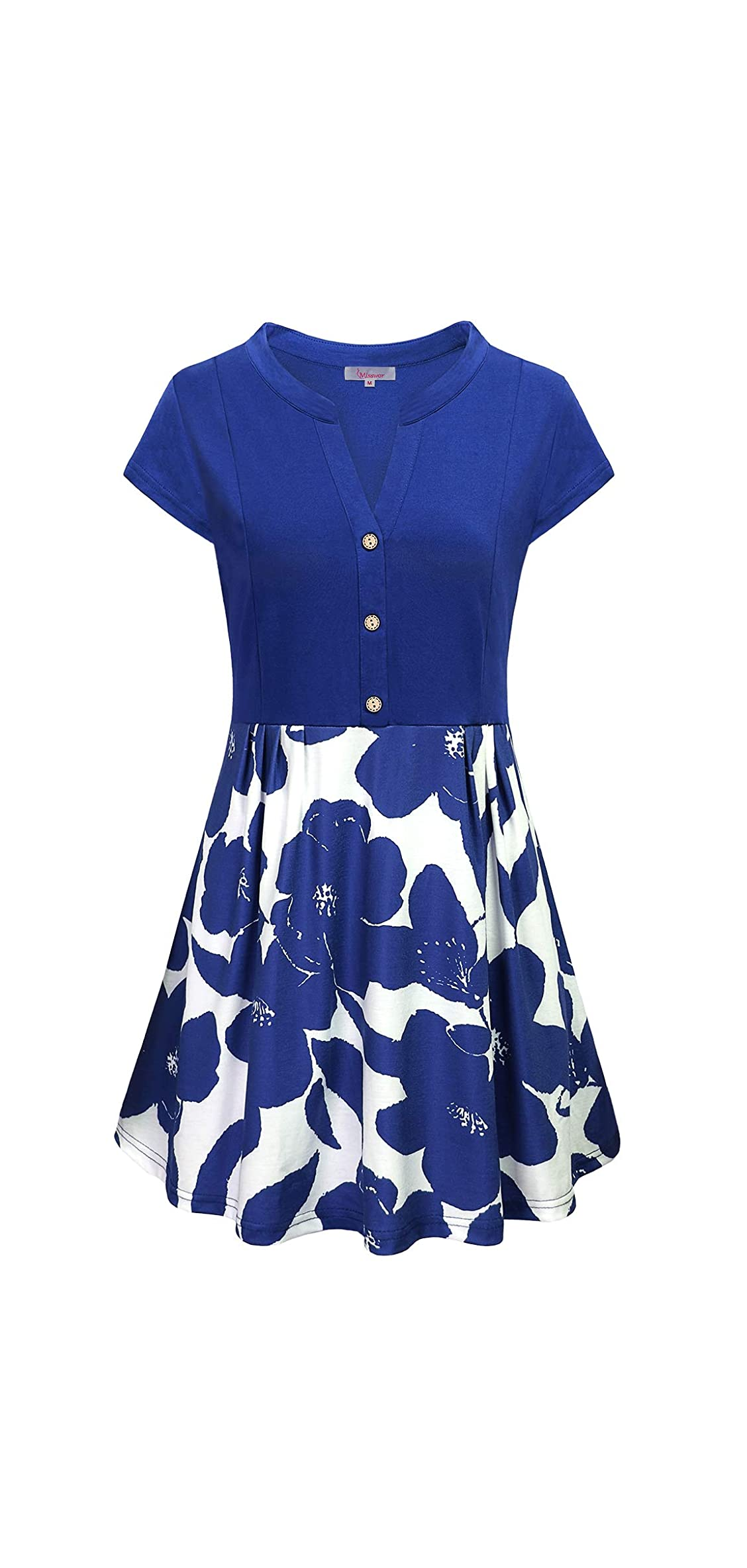 Women's Short Sleeve Color Block Button Pleated Floral