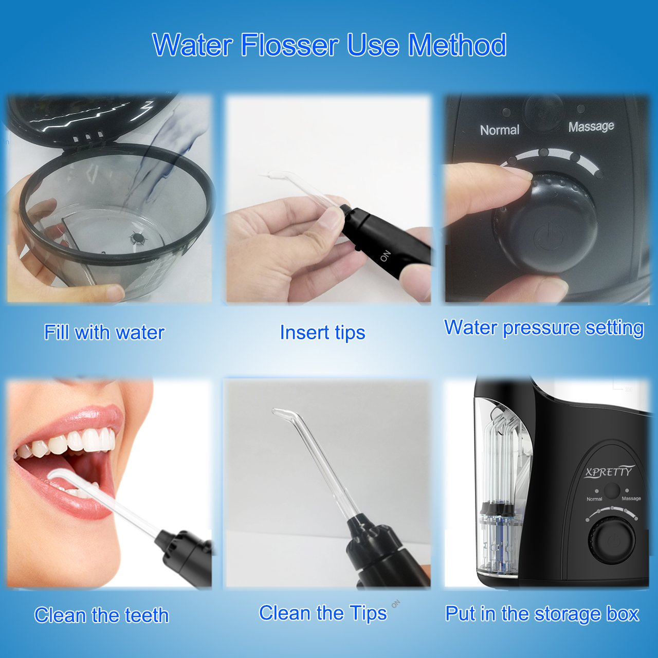 Water Flosser, XPretty 600ml Reservoir Professional Family Oral Irrigator with Adjustable Pressure Setting, Water Pick Dental Flosser with 7 Tips For Braces, Implants, Bridges, Global Voltage by XPretty (Image #3)