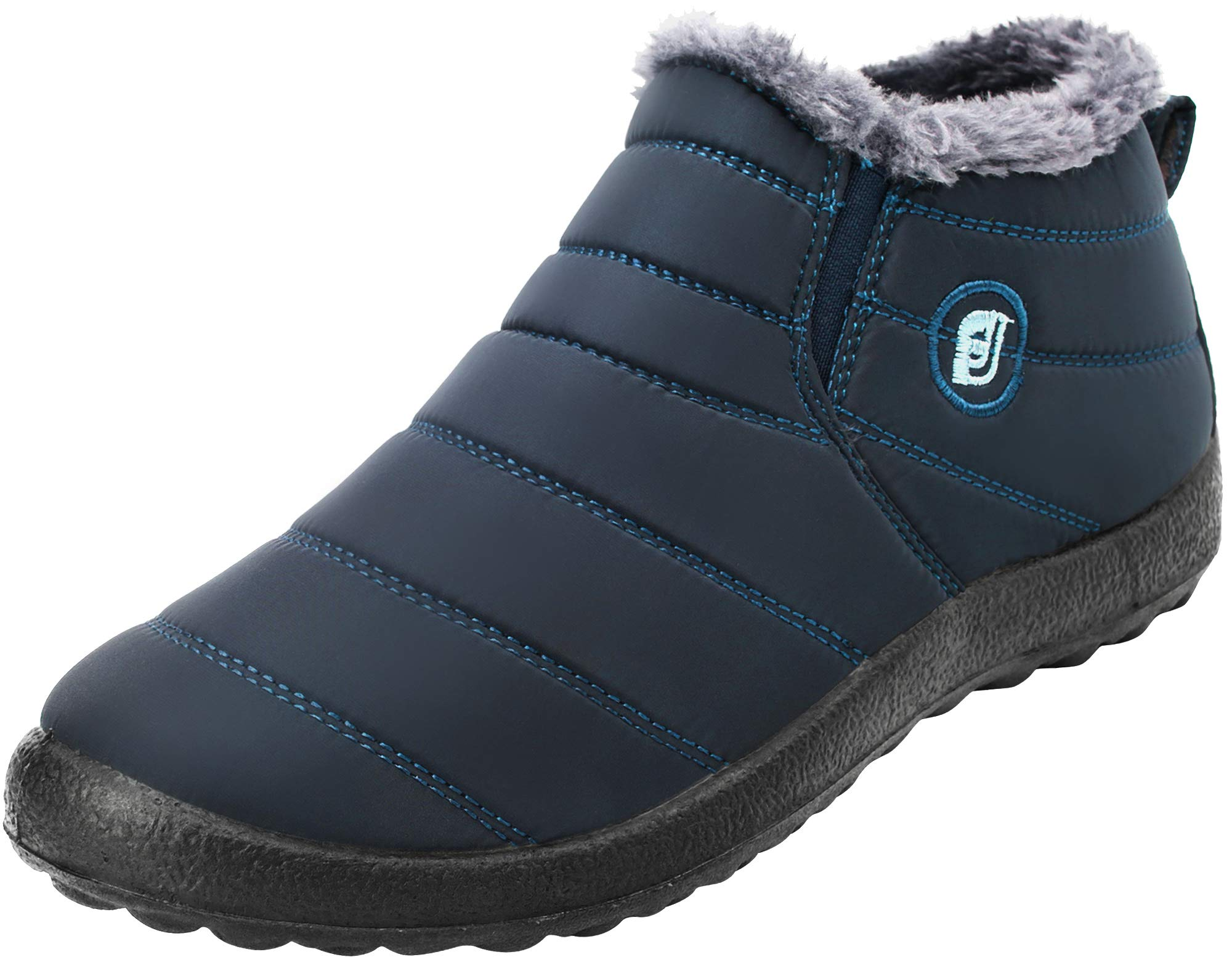 FEETCITY Women's Fur Lined Winter Snow Boots Warm Sneakers Navy Women 8.5 B(M) US by FEETCITY