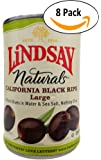 Lindsay, Naturals, Black Ripe Olives, Pitted in Water & Sea Salt, 14.5oz Can (Pack of 8)