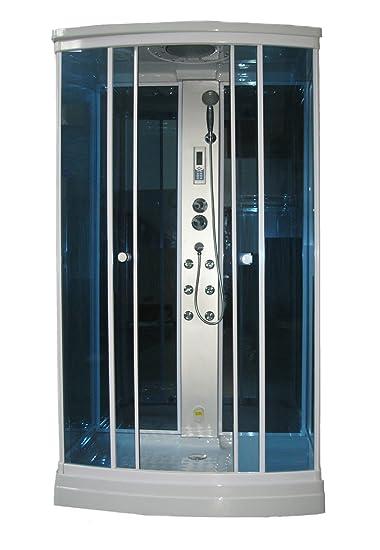 gd trade cabina box con piatto doccia da 120x80 con bagno turco e cromoterapia
