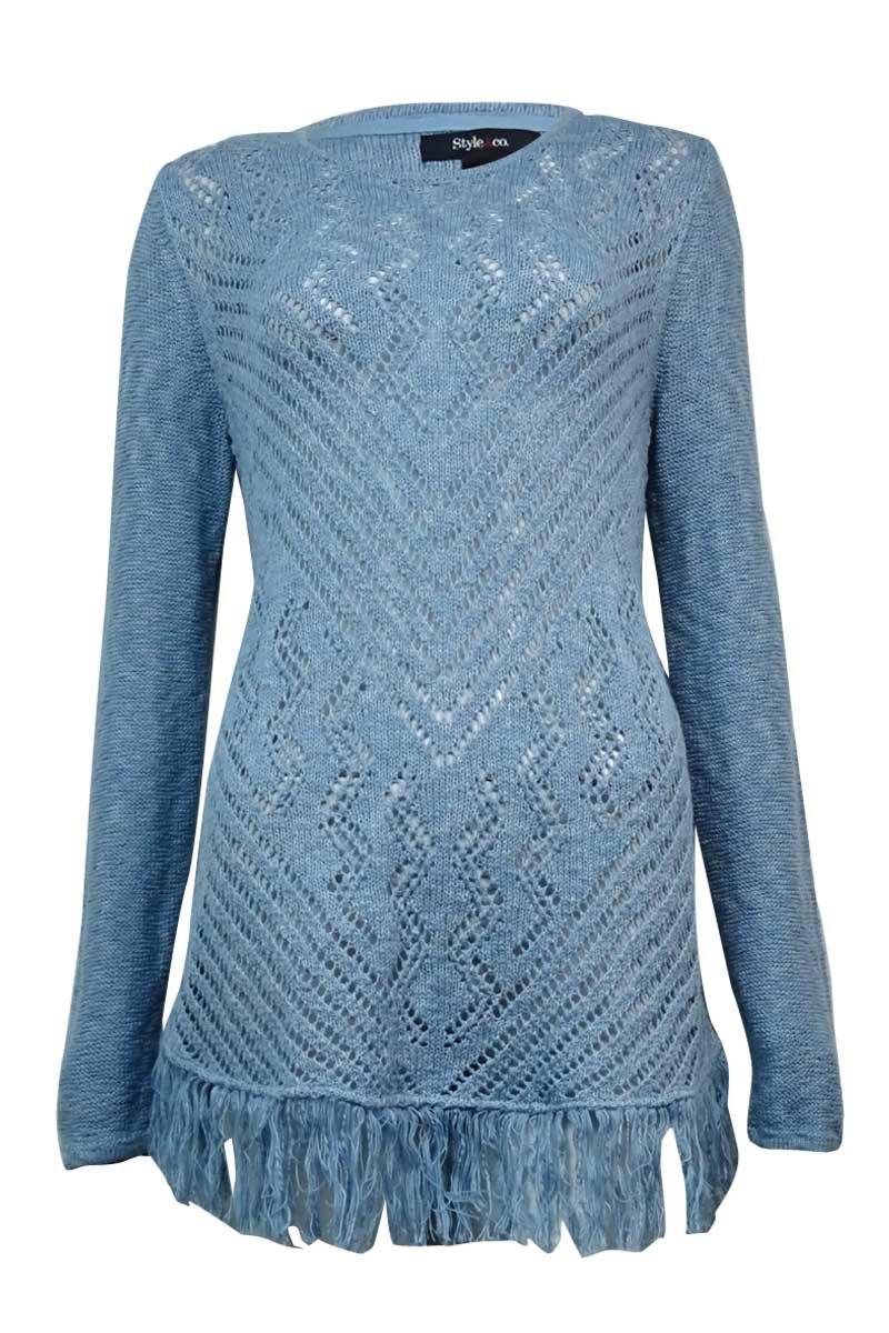 Style & Co. Womens Fringe Sheer Crochet Tunic Sweater Blue S