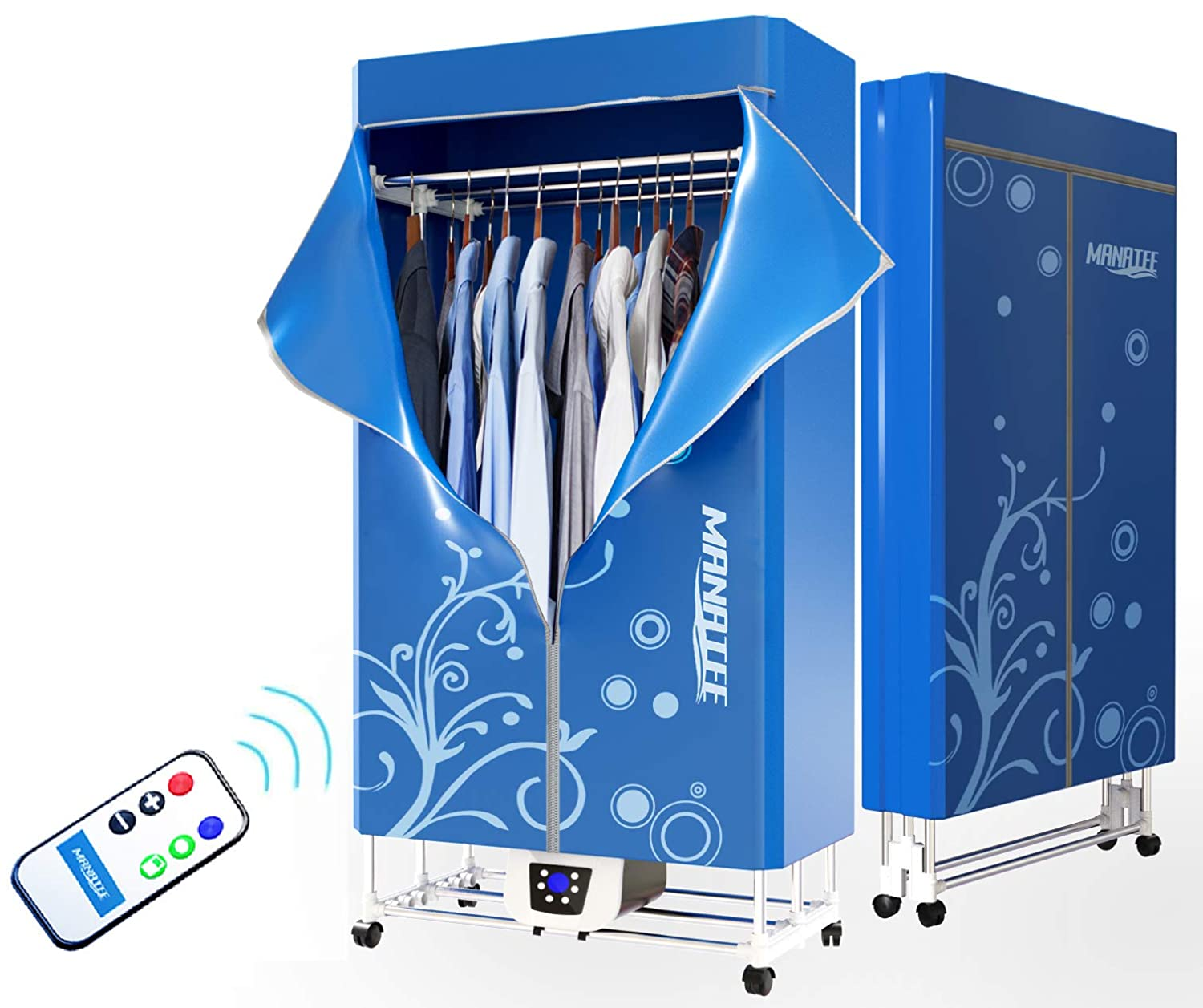 Portable Clothes Dryer 1200W Electric Laundry Drying Rack 33 LB Capacity Best Energy Saving (Anion) Folding Dryer Quick Dry & Efficient Mode Digital Automatic Timer with Remote Control bubblebagdude PDMNT01