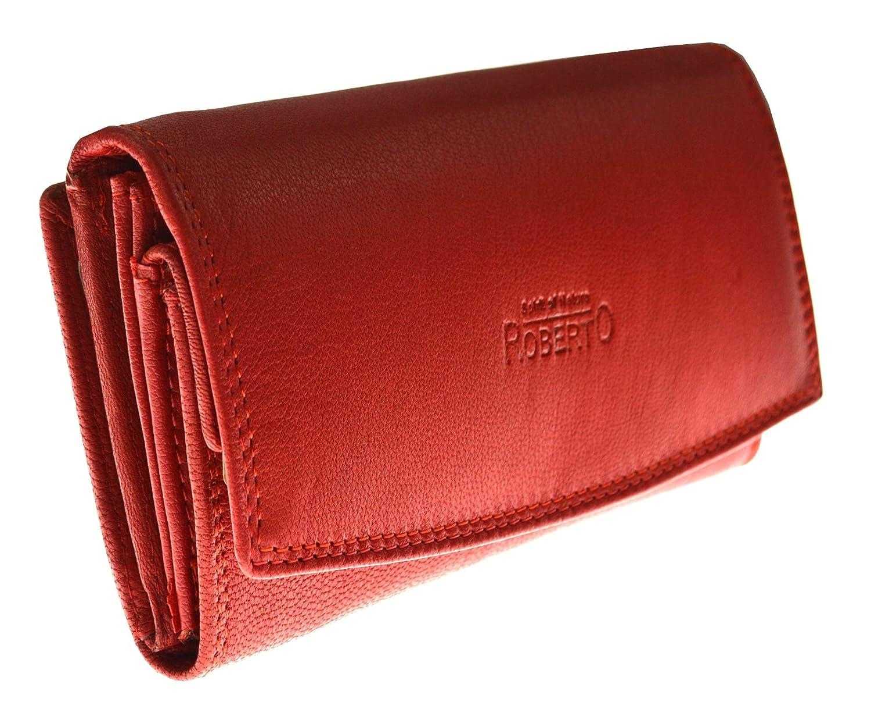 flevado Damen Ledergeldbörse German Design Sandfarbene Damenbrieftasche mit RFID Schutz