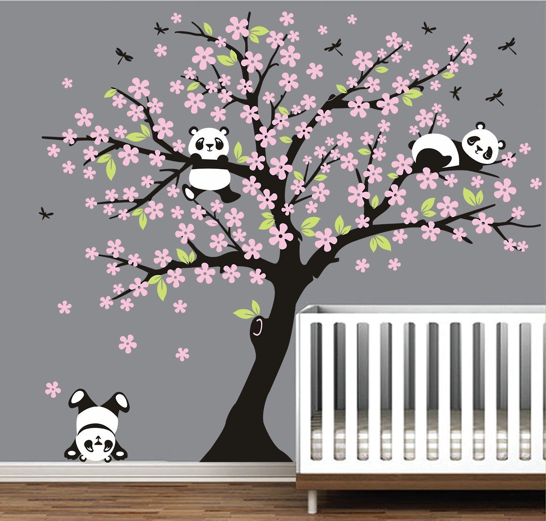 Panda Tree Branch Cute Animal Wall Sticker Nursery Baby Kids Room Art Wall Decal