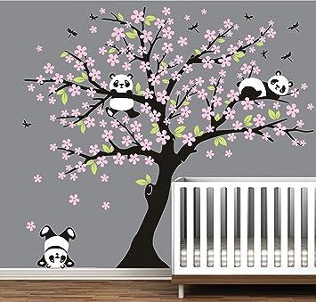 MAFENT Baum Wandtattoo für Kinder, Zimmer mit Drei Kleine Panda Wall ...