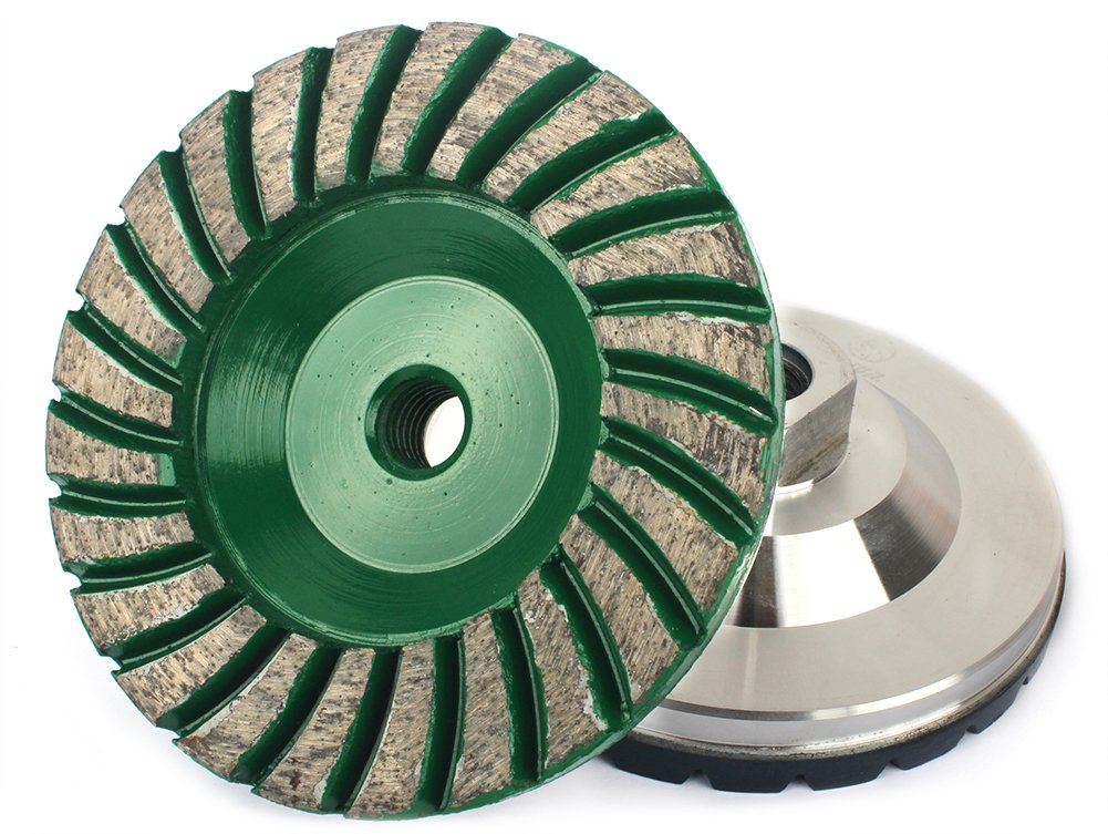 Z-Lion 4'' Diamond Grinding Cup Wheel Aluminum Backer 5/8-11 Thread for Marble Concrete Stone Sanding