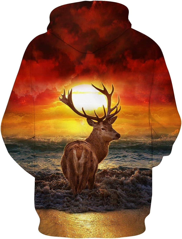 Loveternal Mens Womens Fleece Liner Hoodies 3D Printed Graphic Novelty Pullover Hooded Sweatshirts
